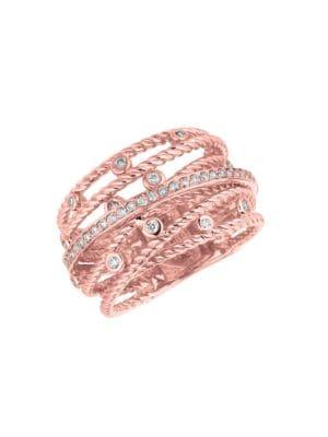 14K Rose Gold Diamond Swirl Ring - 0.5 TCW