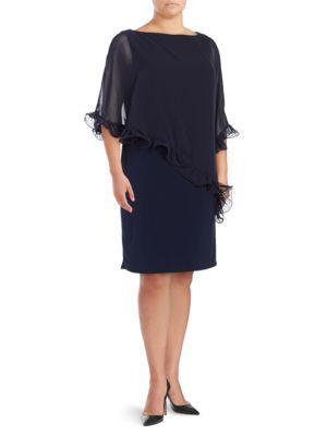 Plus Ruffled Chiffon Overlay Dress by Xscape