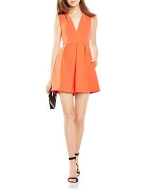 Pleated Stretch-Crepe Cutout Dress by BCBGMAXAZRIA