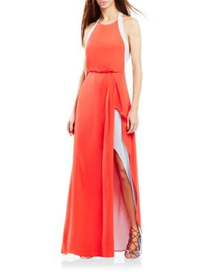 Colorblock Keyhole-Back Gown by BCBGMAXAZRIA