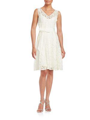 Lace-Overlay Blouson Dress by Calvin Klein