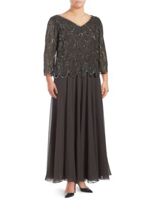 Sequined Scalloped-Overlay Dress by J Kara