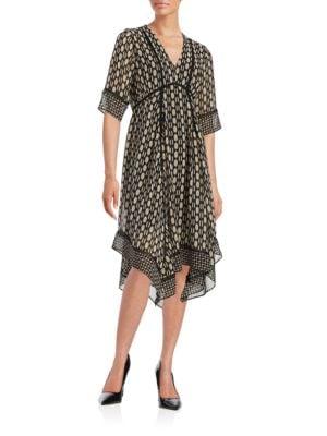 Printed V-Neck Dress by Taylor