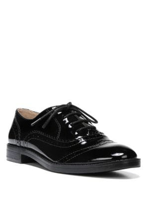 Imagine Stacked Patent Leather Heel Wingtip Oxfords by Franco Sarto