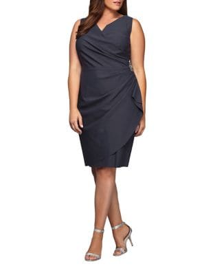 Pleated Surplice Sheath Dress by Alex Evenings