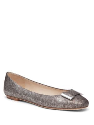 Froth Embossed-Leather Flats by Delman