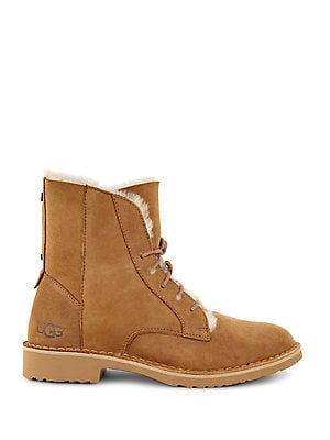 Quincy Shearling-Trimmed Lace-Up Boots