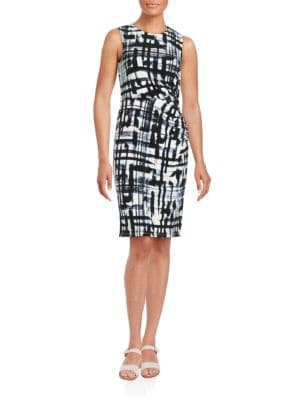 Brushstroke-Print Sheath Dress by Eliza J