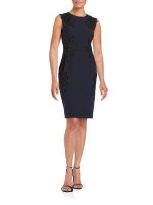 Floral Lace-Accented Sheath Dress by Vince Camuto