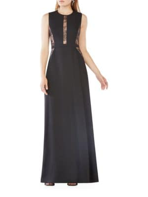 Ashlee Lace Paneled Satin Gown by BCBGMAXAZRIA