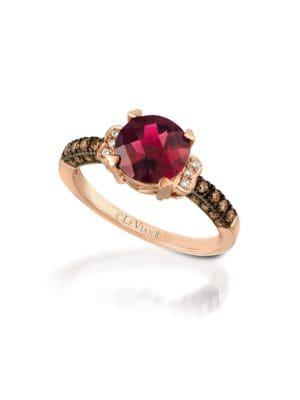 0.56TCW Diamonds, Rhodolite and 14K Rose Gold Chocolatier Ring
