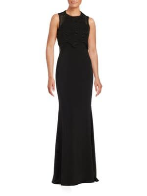 Wavy Lace Overlay Gown by Badgley Mischka