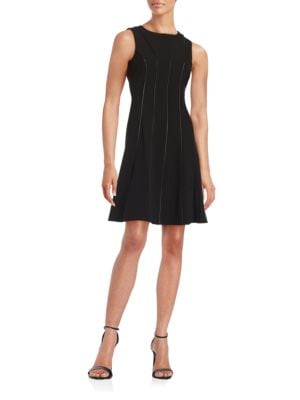 Faux Leather-Trimmed A-Line Dress by Calvin Klein