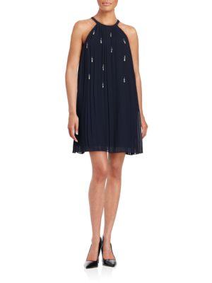 Pleated Shift Dress by Belle Badgley Mischka