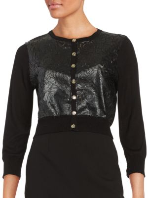 Cropped Three-Quarter Sleeve Top by Karl Lagerfeld Paris