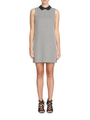 Brynn Houndstooth Leather Collar Shift Dress by Cece