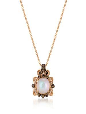0.266TCW Diamonds, Opal and 14K Rose Gold Chocolatier Pendant Necklace