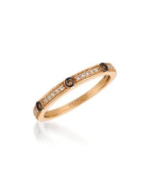 0.54 TCW Diamonds and 14K Rose Gold Chocolatier Ring