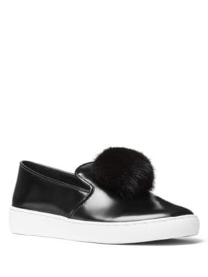 Eddy Mink Fur Pom-Pom & Patent Leather Skate Sneakers by Michael Kors Collection