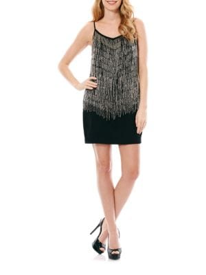 Beaded Fringe Dress by Laundry by Shelli Segal