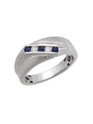0.14TCW Diamond, Sapphire and 14K White Gold Ring