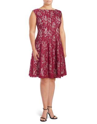 Lace-Overlay A-Line Dress by Gabby Skye