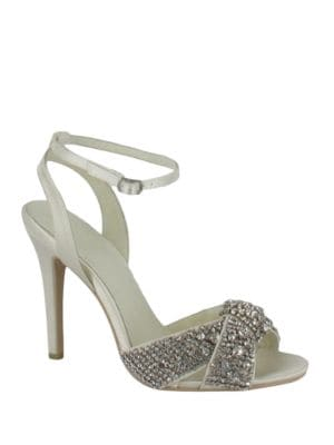 Alex Rhinestone Embellished Satin Slingback Sandals by Menbur