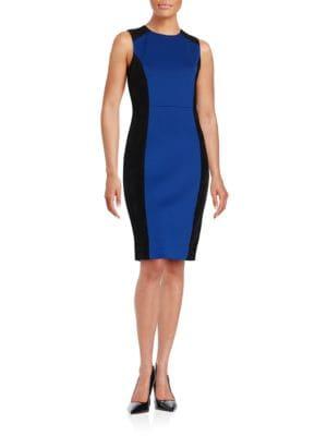 Faux Suede Trim Sleeveless Sheath Dress by Calvin Klein