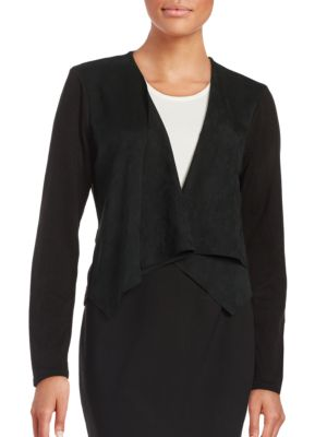Flyaway Front Knit and Faux Suede Jacket by Calvin Klein
