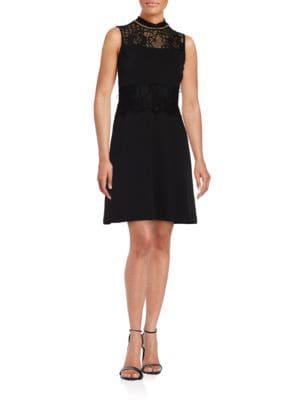 Mockneck Lace-Accented Sheath Dress by Jessica Simpson