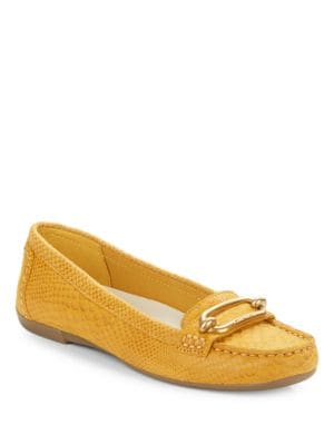 Noris Snake-Embossed Leather Loafers by Anne Klein
