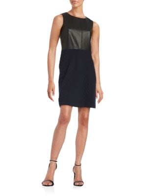 Faux-Leather Sleeveless Sheath Dress by Tommy Hilfiger