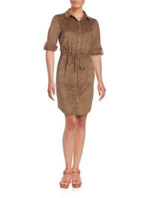 Long-Sleeve Drawstring Velour Shirtdress by Tommy Hilfiger