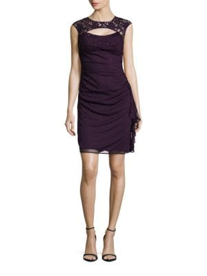 Cutout Lace-Accented Ruched Empire-Waist Dress by Betsy & Adam