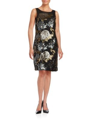 Floral Sequined Sleeveless Sheath Dress by Badgley Mischka Platinum