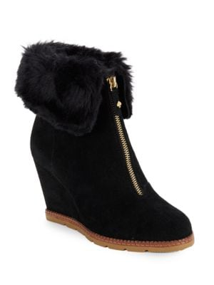 Stasia Faux Fur-Accented Suede Wedge Ankle Boots by Kate Spade New York