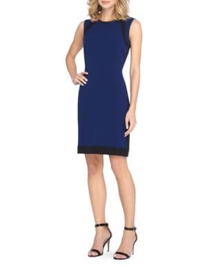 Sleeveless Faux Leather Trimmed Dress by Tahari Arthur S. Levine