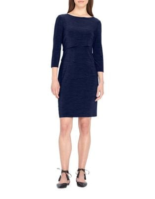 Plus Three-Quarter-Sleeve Tiered Dress by Tahari Arthur S. Levine
