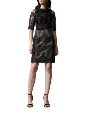 Two-Tone Embroidered Tulle Cocktail Dress by Kay Unger