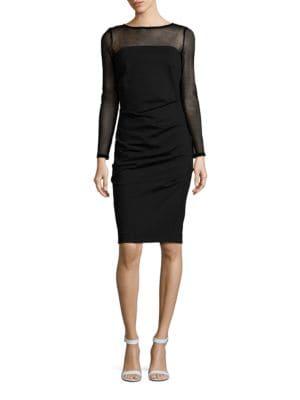 Ponte Combo Long Sleeve Sheath Dress by Nicole Miller