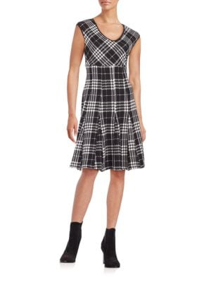 Plaid Fit-and-Flare Dress by Taylor