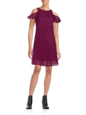 Crocheted Cold-Shoulder Shift Dress by Taylor