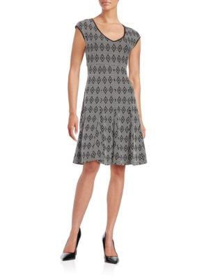 Diamond-Patterned Fit-and-Flare Dress by Taylor