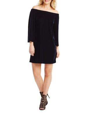 Off-The-Shoulder Velvet Sheath Dress by Donna Morgan