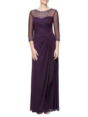 Rhinestone Illusion Pleated A-Line Gown 500046177911