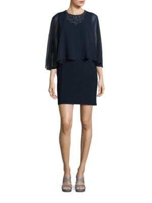 Embellished Cape Dress by Betsy & Adam