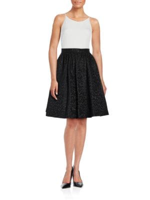 Contrast Fit-and-Flare Dress by Calvin Klein