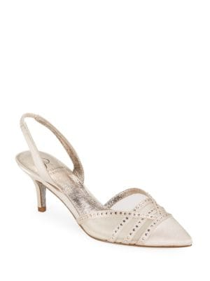 Hestia Rhinestone Slingback Pointed Toe Satin High Heels by Adrianna Papell