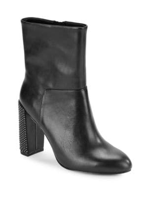 Lea High-Heel Studded Leather Boots by H Halston