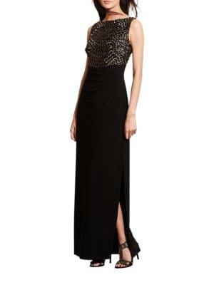 Sequined Bodice V-Back Gown by Lauren Ralph Lauren